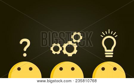 Problem Solving Concept. Path From Question To Answer, Problem To Solution. Vector Illustration With