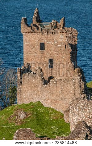 Urquhart Castle Sits Beside Loch Ness In The Highlands Of Scotland Overlooking The Urquhart Bay On T