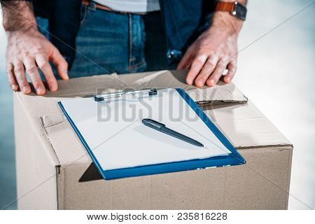 Courier By Empty Cargo Declaration On Cardboard Package