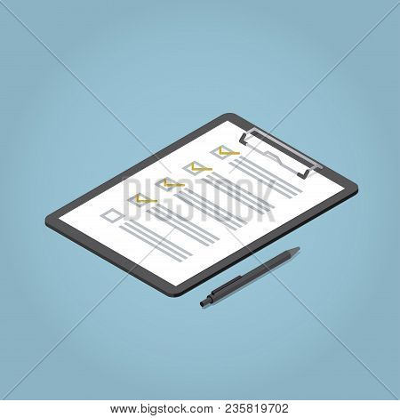 Isometric Claim Form Illustration. Pad With Sheet Of Paper And Pen.