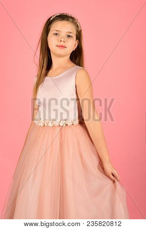 Little girl in fashionable dress, prom. little girl or kid in prom dress. poster