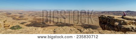Negev Desert, Israel - March 22: Desert Landscape, Panorama Of The Makhtesh Ramon, Nature Reserve In