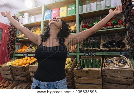 One Women Who Buy Fruit And Vegetables In The Greengrocers