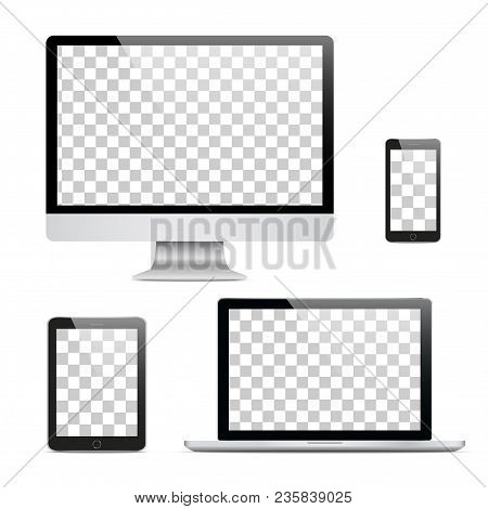 Set Of Realistic Computer Monitor, Laptop, Tablet And Mobile Phone With Isolated On Transparent Scre