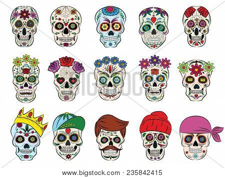 Skull Vector Mexican Flowered Dead Head And Flowering Crossbones And Human Tattoo Illustration Thick