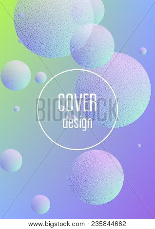 Minimal Shapes Cover With Holographic Fluid And Halftone Dots Texture. Gradient Shapes On Vibrant Ba