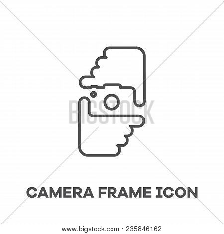 Clever Negative Space Design. Vector Outlined Logo Icon With Photographer Hands And Camera