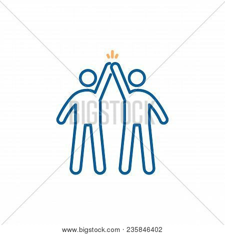 Teamwork Success. Partners High Fiving Eachother After Success. Vector Trendy Thin Line Icon Illustr