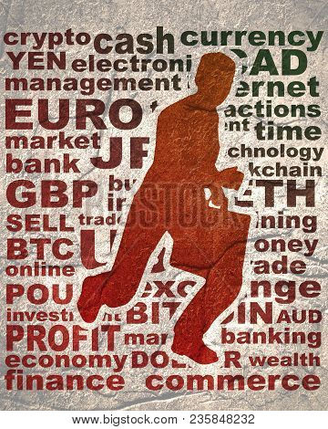 Businessman Running With Briefcase. Abstract Illustration. Modern Lifestyle Metaphor. Word Collage R