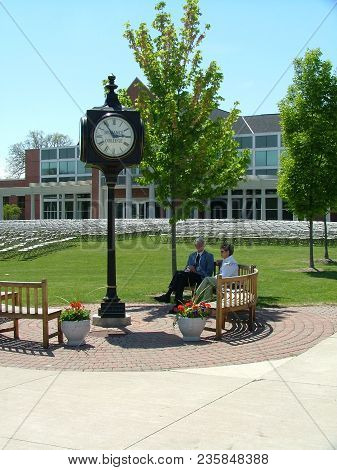 Defiance College Clock Tower With Serrick Center In The Background And Seats Set Up For Graduation C