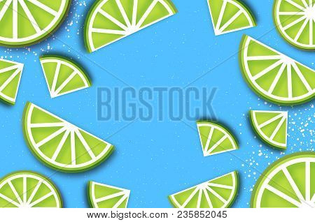 Lime In Paper Cut Style. Origami Juicy Ripe Lime Citrus Slices. Healthy Food On Sky Blue. Summertime