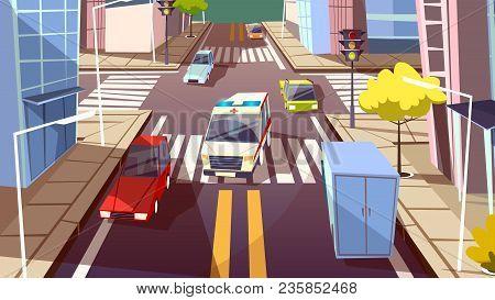 City Street And Ambulance Car Vector Illustration. Cartoon Flat Deisgn Or Urban Traffic Road And Tra