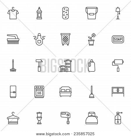 Household Outline Icons Set. Linear Style Symbols Collection, Line Signs Pack Vector Graphics. Set I