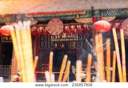 Chinese Incense Stick Burner At Shrines In Wong Tai Sin Chinese Temple For Praying Buddha. Incense C