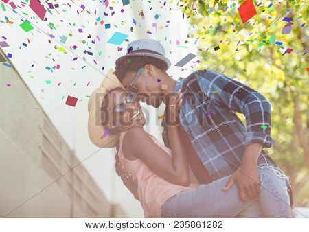 Confetti and couple dancing on holidays
