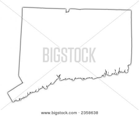 Connecticut(Usa) Outline Map With Shadow