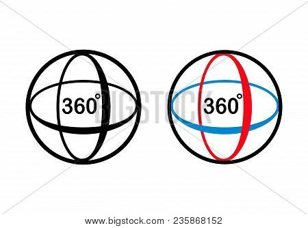 Angle 360 Degrees Rotation Icon. Isolated Sign Symbol And Flat Style. Vector Illustration.