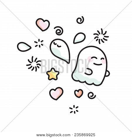 Vector Icon Ghosts And Phantoms Isolated On White Background In Doodle Style. Funny Ghost And Shadow