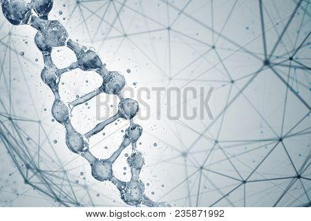 Science background with DNA molecules. 3D rendering