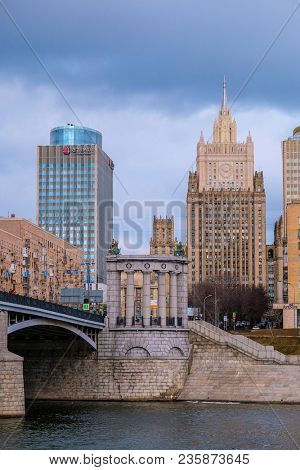 Moscow, Russia - April, 10, 2018: city scape with the image of Moscow street and the building of Foreign affairs