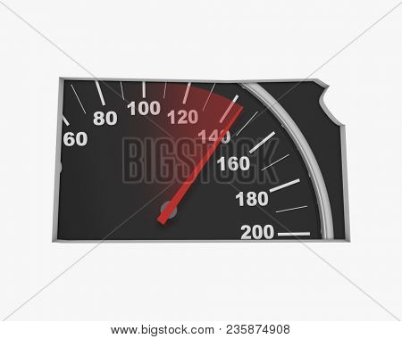 Kansas KS Speedometer Map Fast Speed Competition Race 3d Illustration