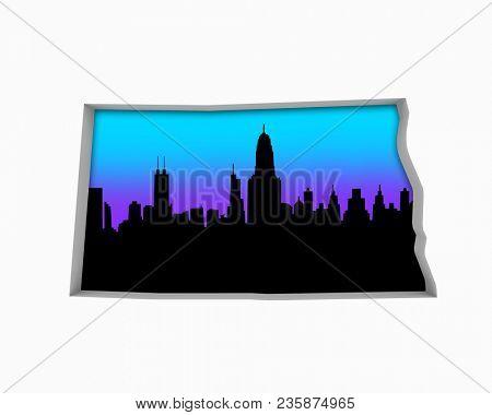 North Dakota ND Skyline City Metropolitan Area Nightlife 3d Illustration