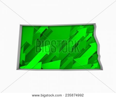 North Dakota ND Arrows Map Growth Increase On Rise 3d Illustration