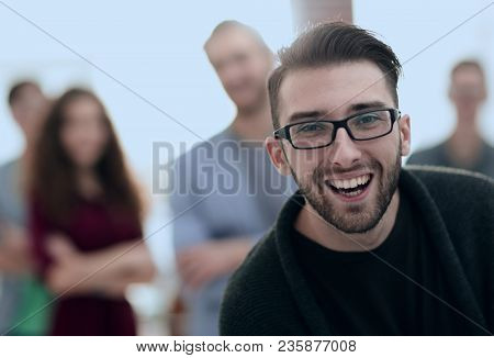 portrait of a young journalist in the blurred background