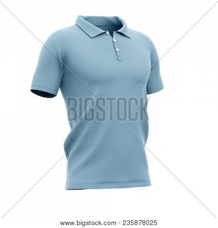 Men's polo shirt with short sleeves. Half-front view. 3d rendering. Clipping paths included: whole object, collar, sleeve, buttons.