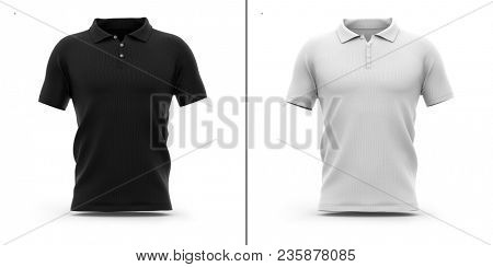 Men's polo shirt with short sleeve. Front view. 3d rendering. Clipping paths included: whole object, sleeve, collar, buttons. Highlights and shadows template mock-up.
