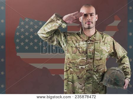 Military saluting against american flag