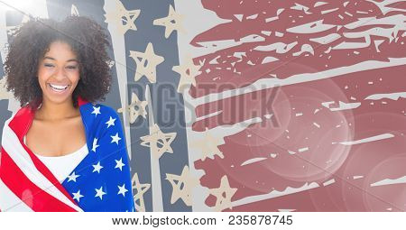 Woman wrapped in american flag against hand drawn american flag and flare