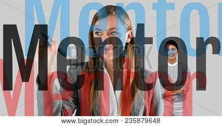 young businesswoman writing MENTOR(with opacity in 3 colors) on the screen, behind she, businesswoma