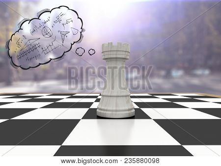 Chess piece against blurry street with flares and thought cloud with math doodles