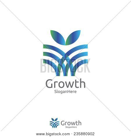 Elegant Grow Leaf Or Flower Logo Icon Vector Design With Green Blue Nature And Fresh Color Design Co