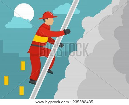 Firefighter On Stairs Concept. Flat Illustration Of Firefighter On Stairs Vector Concept For Web