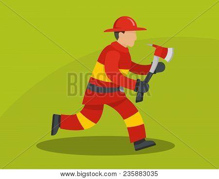 Running Firefighter Concept. Flat Illustration Of Running Firefighter Vector Concept For Web