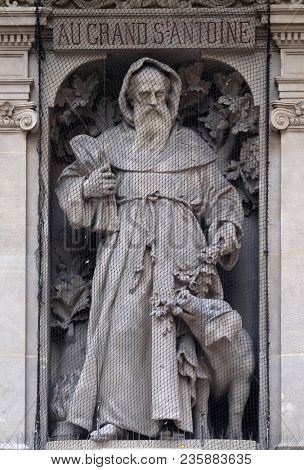 PARIS, FRANCE - JANUARY 07: Saint Anthony the Great, statue near the Porte Saint Denis in the 10th arrondissement in Paris, France on January 07, 2018.