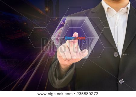 Double Exposure Businessman Point Commitment Word And Urban Cityscape Abstract Background