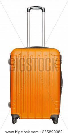 The Orange Suitcase Isolated On White Background