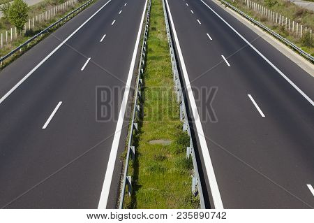 Empty Highway On Sunset Without Any Cars.