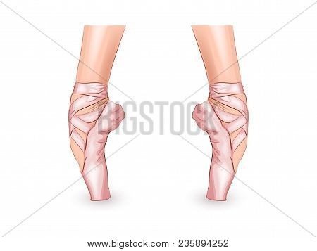 Vector Illustration Of A Ballerinas Feet In Pointe Shoes