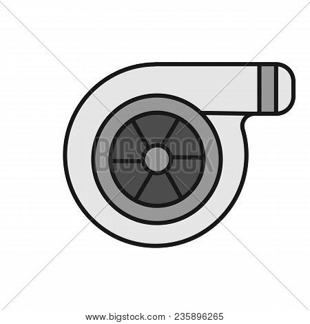 Turbocharger Color Icon. Colloquially Turbo. Isolated Vector Illustration