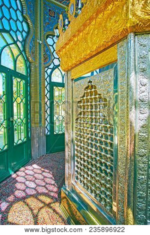 Rayen, Iran - Octotber 16, 2017: The Carved Metal Walls Of Mausoleum In Shia Shrine To Martyr Of Ira
