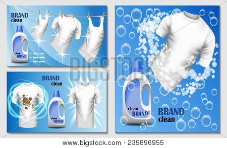 Laundry Room Washing Banner Concept Set. Realistic Illustration Of 3 Laundry Room Washing Vector Ban