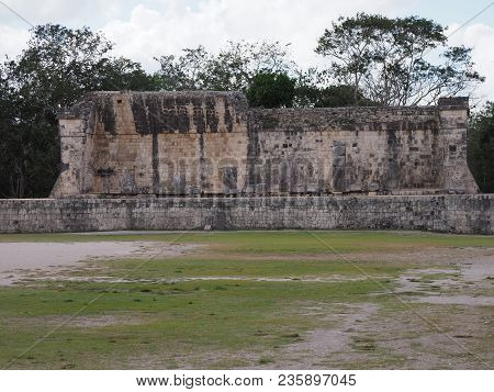 Ancient Wall Ruins Of Great Ball Court Buildings On Chichen Itza City, Mexico, Largest Most Impressi
