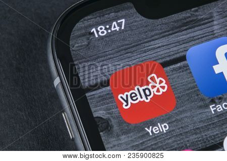 Sankt-petersburg, Russia, April 12, 2018: Yelp Application Icon On Apple Iphone X Screen Close-up. Y