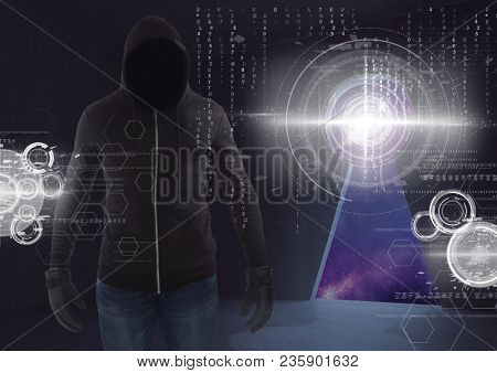 Shadow of hacker standing on in front of digital background