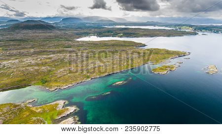 Norway Coast Landscape Aerial Drone View From Above