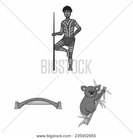 Country Australia Monochrome Icons In Set Collection For Design.travel And Attractions Vector Symbol